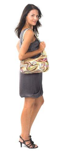 Zimbelmann Damen Schultertasche aus echtem Leder - Nappaleder - handbemalt - Esther