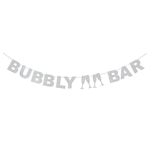 AZIWEI Silver Glitter Bubbly Bar Banner-Wine Glass for Bachelor Party/Wedding Creative Decoration Photo Props.