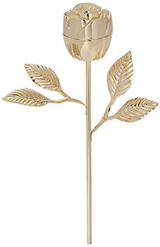 Elegance Rose Ring Holder with Long Stem, Gold