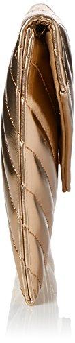 Swanky Swans Marla V Stitch Metallic Clutch Bag - Carteras de mano Mujer Dorado (Champagne Rose)