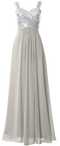 Women Formal Cowl Bridesmaid Sequin Dress MACloth Gown Back Wedding Silber Long Straps zW6Yxxqd