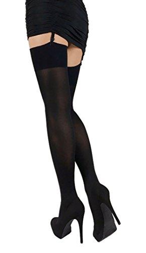 Black Opaque Stockings (Thigh High Opaque Stockings (Black, S))