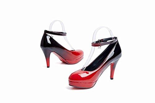 alto mujer corte negro de tobillo de para de Carolbar Zapatos color rojo tacón alto surtido qZ7wH
