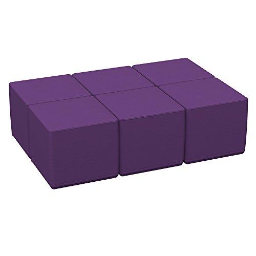 ECR4Kids Softzone 18'' Square Ottoman - Furniture for Kids, Standard 16'' H, (6-Piece Set) Purple by ECR4Kids