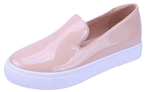 Cambridge Select Womens Closed Round Toe Slip-On Fashion Sneaker Nude Q7GM74