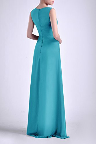 Long Women's Natrual Sheath Sleeveless Straps Dress Cyan Adorona Chiffon Bateau vqwdW0x