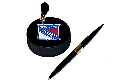(New York Rangers Basic Logo Hockey Puck NHL Desk Pen Holder)