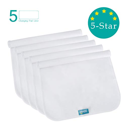 """Changing Pad Liners Waterproof Washable (5 Count), Flannel Portable & Durable Extra Large 27"""" X 14"""" Travel Bassinet Waterproof Pad Liners, White"""