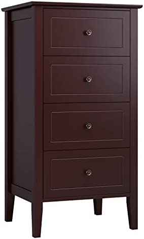 Homfa 4 Drawer Chest, Bathroom Floor Cabinet, Solid Wood Frame, Antique-Style Handles, Dressers for Bedroom, 19.7 L x 15.7 W x 37.4 H Easy to Assemble -Soft Dark Brown Finish