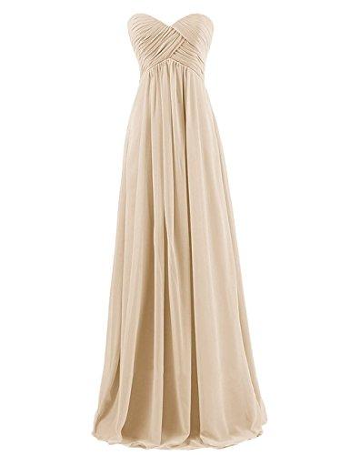 Kleid Party Champagne Brautjungfer Kleider Abendkleider Damen Lange Brautjungfern CoCogirls Trägerlos Kleid Kleid formale Chiffon Festkleider Hn6q1wvX
