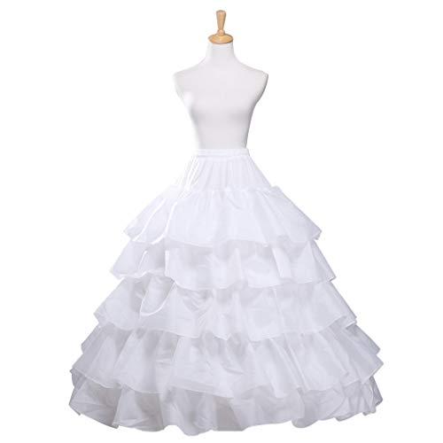 (iphonepassteCK Crinoline Petticoat Underskirt 4 Hoops 5 Ruffles Trumpet Slip Ball Gown Skirt Hoop Skirt Quinceanera Gown for Wedding Dress)