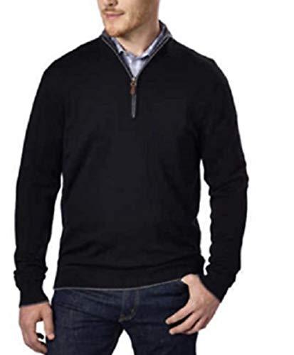 (Kirkland Signature Men's Extra Fine Merino Wool ¼ Zip Sweater (Black, Medium))