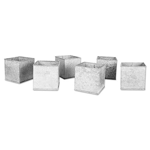 Koyal Wholesale Galvanized Zinc, Farmhouse, Gray Metal Containers for Wedding, Rustic Planters, Succulent Flower Pots, French Galvanized Décor, Waterproof (4 x 4-Inch)