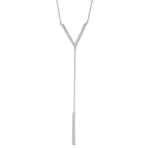 (Joy and Rachel Platinum Plated 925 Sterling Silver Round Cubic Zirconia Y Droplet Lariat Long Chain Vertical Bar Drop V Shape Pendant Necklace, Adjustable Length 16,17,18)
