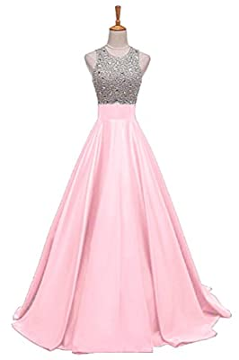 Still Waiting Women's Sparkly Crystal Satin Prom Dresses Long 2018 Sequined Beadings Prom Party Gowns With Pockets XY075