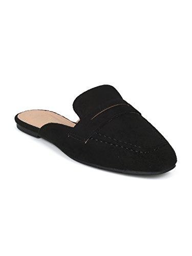 Alrisco Women Faux Suede Slip On Flat Loafer Mule HG74 - Black Faux Suede (Size: 8.5) by Alrisco