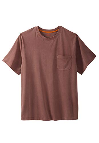 Boulder Creek Men's Big & Tall Heavyweight Crewneck Pocket T-Shirt, Mountain Red Pigment Big-2XL ()