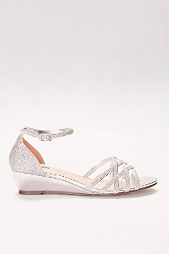 Davids Bridal Avery Glitter Mini Wedges With Woven Detail Style P1704 Silver FNhwVQrdLO