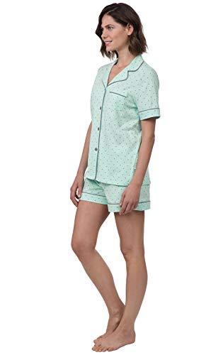 PajamaGram Pajama Set for Women - Short Sleeve Pajamas for Women, Mint, M, 10-12