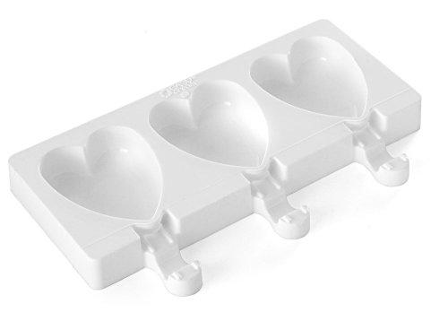 Silikomart Silicone Easy Cream Mini Ice Cream Bar Mold Set, Hearts
