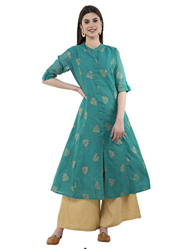 Lagi Women Designer Straight A-Line Kurta Kurtis top Tunic Dresses Polly Silk Rayon Cotton Kurtis Kurta (S, Green (RK2135C))
