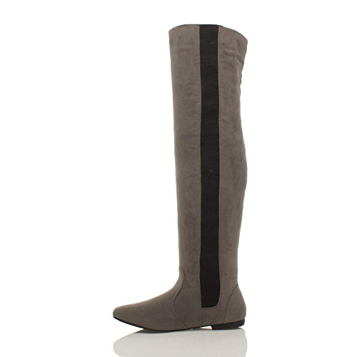 pull stretch high size knee boots Suede elastic ladies Ajvani flat on the over Grey Womens 0qnwUE4f8