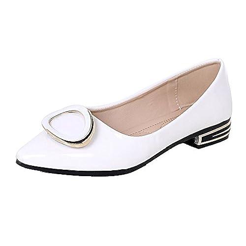 VogueZone009 Femme Verni /à Talon Haut Pointu Couleur Unie Tire Chaussures L/égeres