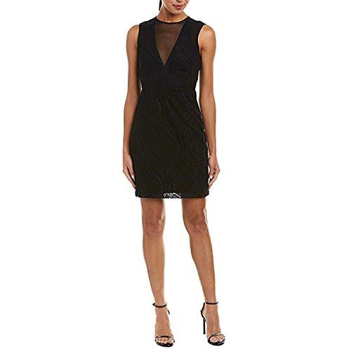 Nicole Miller Women's Petal Lace Mesh V-Neck Dress Black/Navy 6
