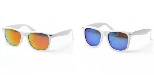 PURECITY® Lot de 2 Paires de Lunettes de soleil style Wayfarer - Geek Retro Vintage 80s - Verres Effet Miroir Bleu + Essence - Monture Blanc - Fashion Tendance