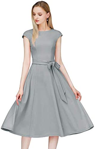 DRESSTELLS Women's Prom Tea Dress Vintage Swing Cocktail Party Dress with Cap-Sleeves 5