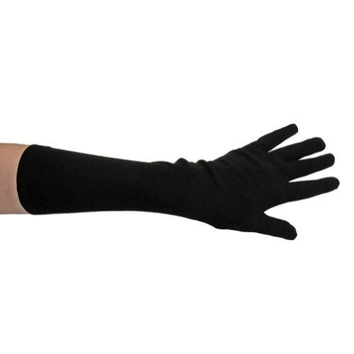 [Black Costume Gloves (Elbow Length) ~ Halloween Costume Accessories (STC12037)] (Black Men Halloween Costume)