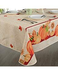 HomeCrate European Fall Harvest Tablecloth Printed Autumn Leaves and Pumpkins, 60