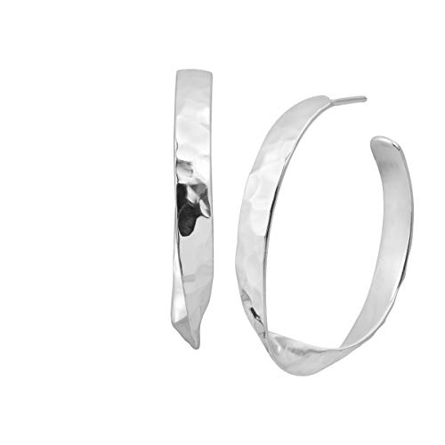 Hammered Sterling Silver Post - Silpada 'Victoria' Hammered Hoop Earrings in Sterling Silver