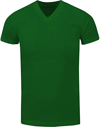 VNS06_ Active Mens Premium Cotton Heavy Weight V Neck Basic T Shirt Kelly Green by Shaka Wear (Image #1)