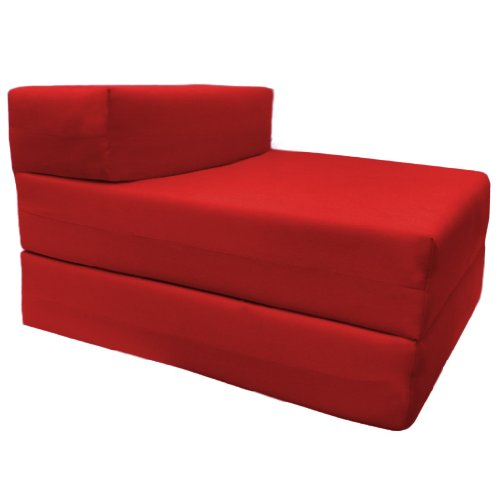 Comfortable Supreme Quality 100% Cotton Single Fold Out Z Bed Chair Futon in Red. Soft, Comfortable & Lightweight with a Removeable Cover. Available in 12 Colours. Ready Steady Bed