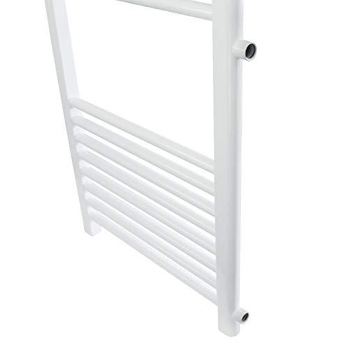 500 x 1200 mm Blanco Radiador de calefacci/ón con conexi/ón lateral Plano No electrico ECD Germany Radiador toallero