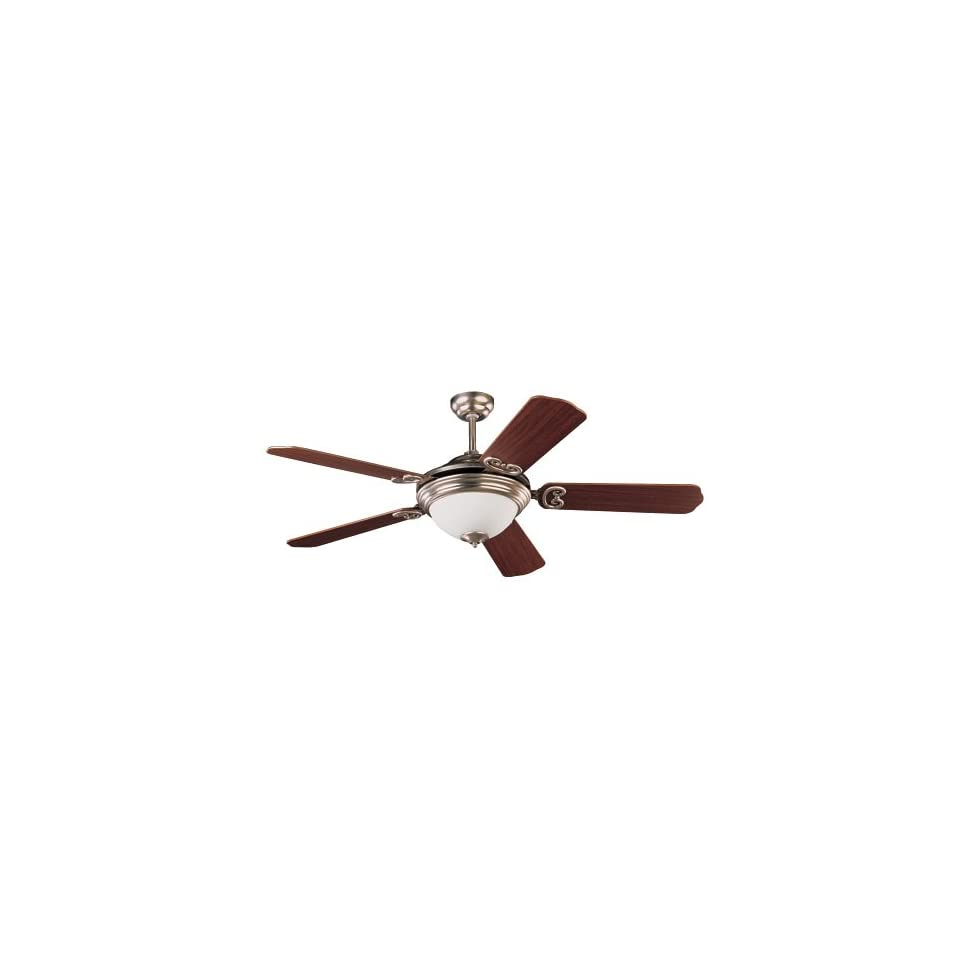 Sea Gull Lighting 1590BLE 962 Energy Star 52 Inch Five Blade, One Light Dimmable Ceiling Fan, Brushed Nickel Finish with Mahogany Dark Finish Blades and Satin White Glass