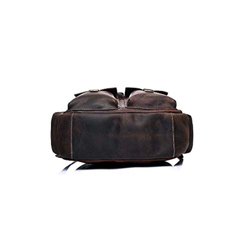 Bolsillos Vintage Color Brown Mens Laptop múltiples Bag Real Bag Leather Sports Travel Backpack Dark Shoulder Handcrafted Vintage Brown Tsutou 1qwXXv