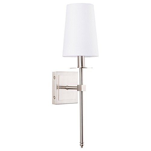 Half Wall Mount Lantern (Torcia Wall Sconce 1-Light Fixture with Fabric Shade - Brushed Nickel - Linea di Liara LL-SC425-BN)