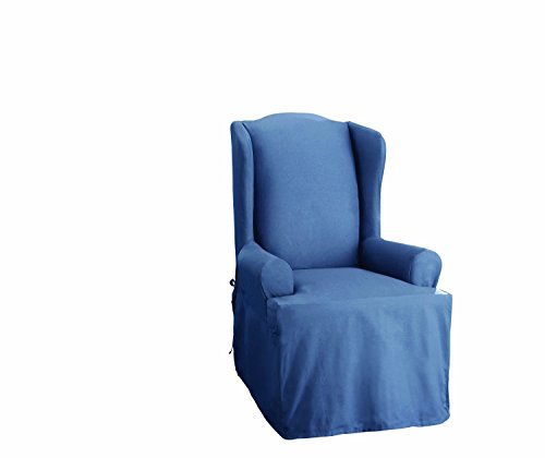 Sure Fit Duck Solid - Wing Chair Slipcover  - Bluestone (Sure Fit Duck Slipcover)
