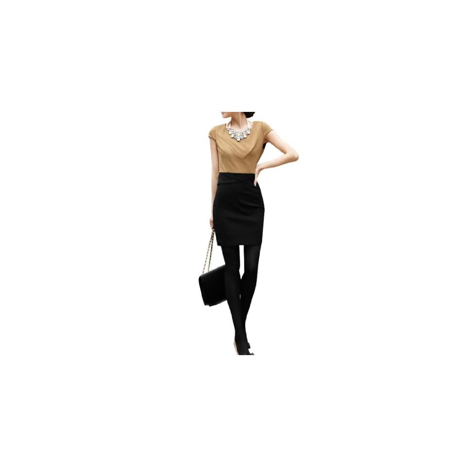 Women Cap Sleeve Elegant Cotton Blends Polyester Above Knee Dress