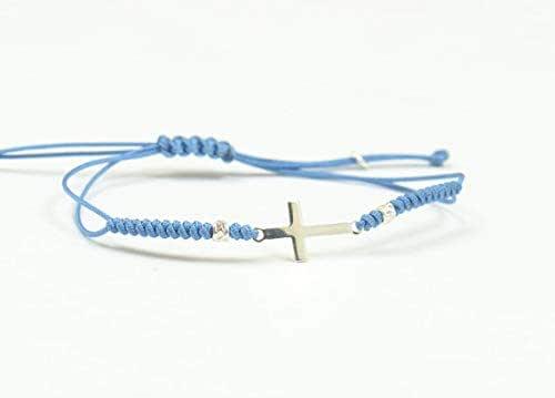 Pulsera de cruz de plata cuerda .Nudo ajustable.Mascota: Amazon.es: Handmade