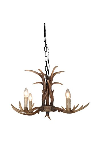 Cast Reproduction Antler Chandelier - EFFORTINC Antlers vintage Style resin 4 light chandeliers, American rural countryside antler chandeliers,Living room,Bar,Cafe, Dining room deer horn chandeliers