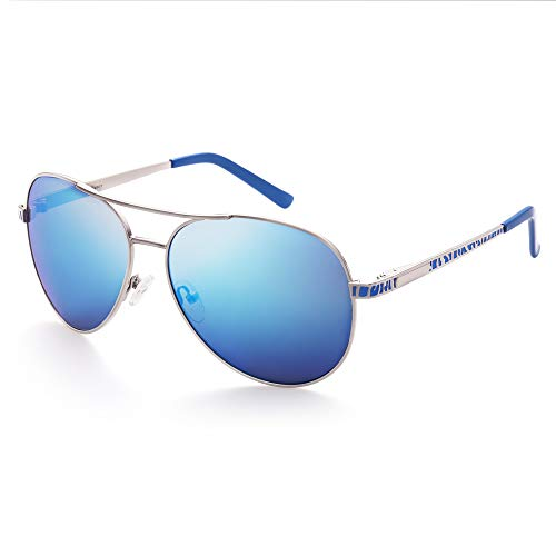 (LotFancy Aviator Sunglasses for Women with Case, UV400 Protection, 61MM, Lightweight Eyewear for Driving Fishing Sports, Revo Blue Mirrored Lens, Silver Metal Frame)