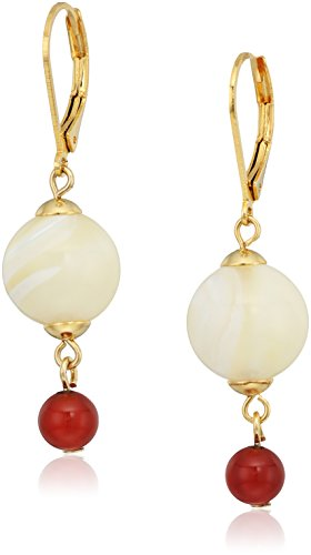 (1928 jewelry 14k gold dipped genuine semi precious gemstone mother of pearl round drop earrings)