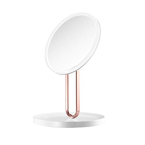 ALUS LED Rechargeable Makeup Mirror, Filling Table Mirror - Mirror with Storage Chassis - Detachable Wall Mounting Mirror - Makeup Mirror with Three Different Light Colors (Color : White) (Lighting Chassis)