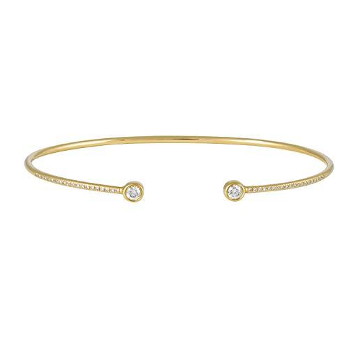 (Women's 14k Yellow Gold Brilliant Half Pave Cuff Bangle Bracelet 0.27 Ct Natural Diamond)