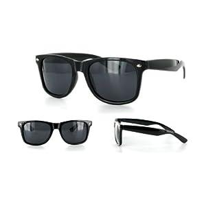 MJ Boutique's Glossy Black Polarized Retro Classic Sunglasses FREE POUCH