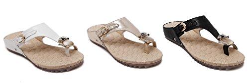 Fortuning's JDS Mujeres Diamante de imitacióntachonado zorro dedo del pie anillo Sandal plana zapatilla Blanco