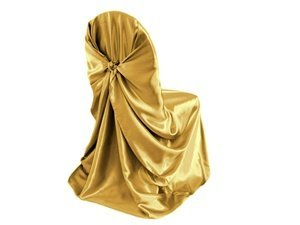 Chair Cover Tie Self - OWS Pack of 50 satin Universal Chair Cover / Pillowcase / tie back self chair cover for Wedding or Events Banquet / Folding Chair cover - Gold
